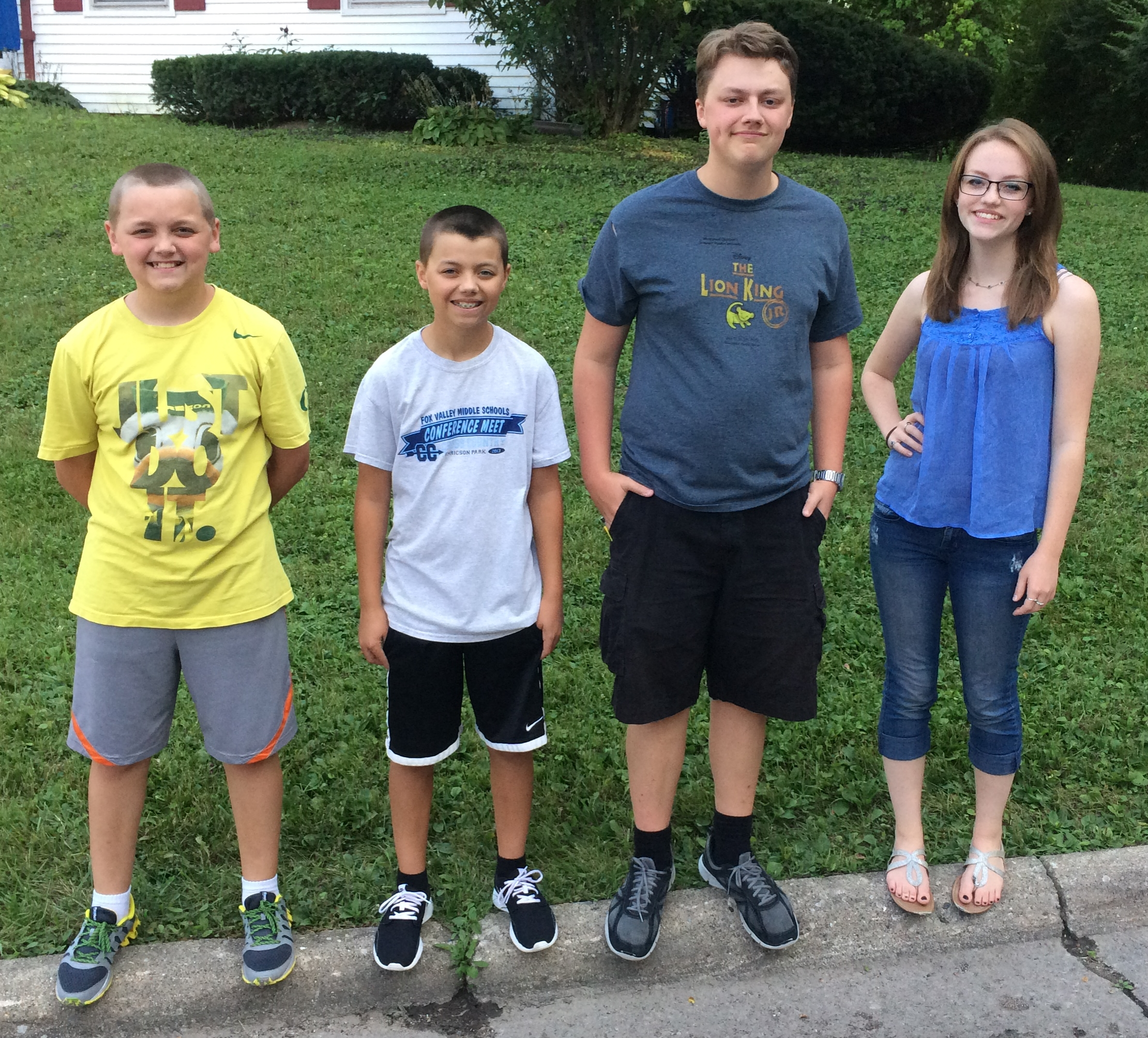 2015 - Daniel (12, 7th grade), Elijah (14, Freshman), Jack (16, Junior), Sarah (18, College Freshman)