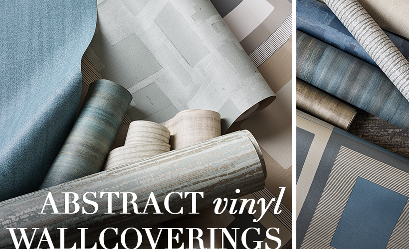 An exceptional collection of abstract vinyl wallcoverings printed on embossed grounds resembling the natural textures of either linen or canvas