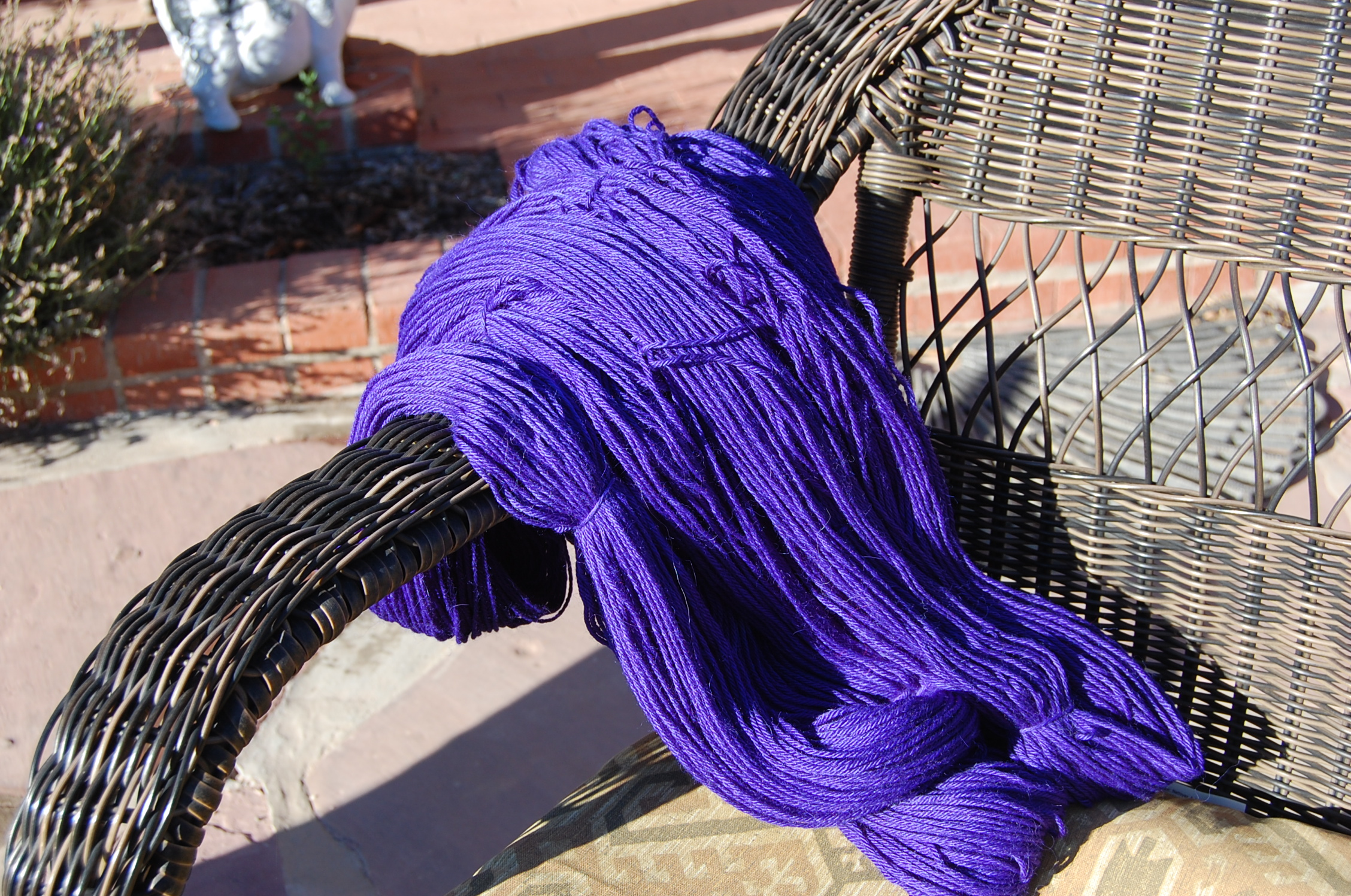 Beautiful hand dyed periwinkle yarn  by Miss Stacie here at the ranch...