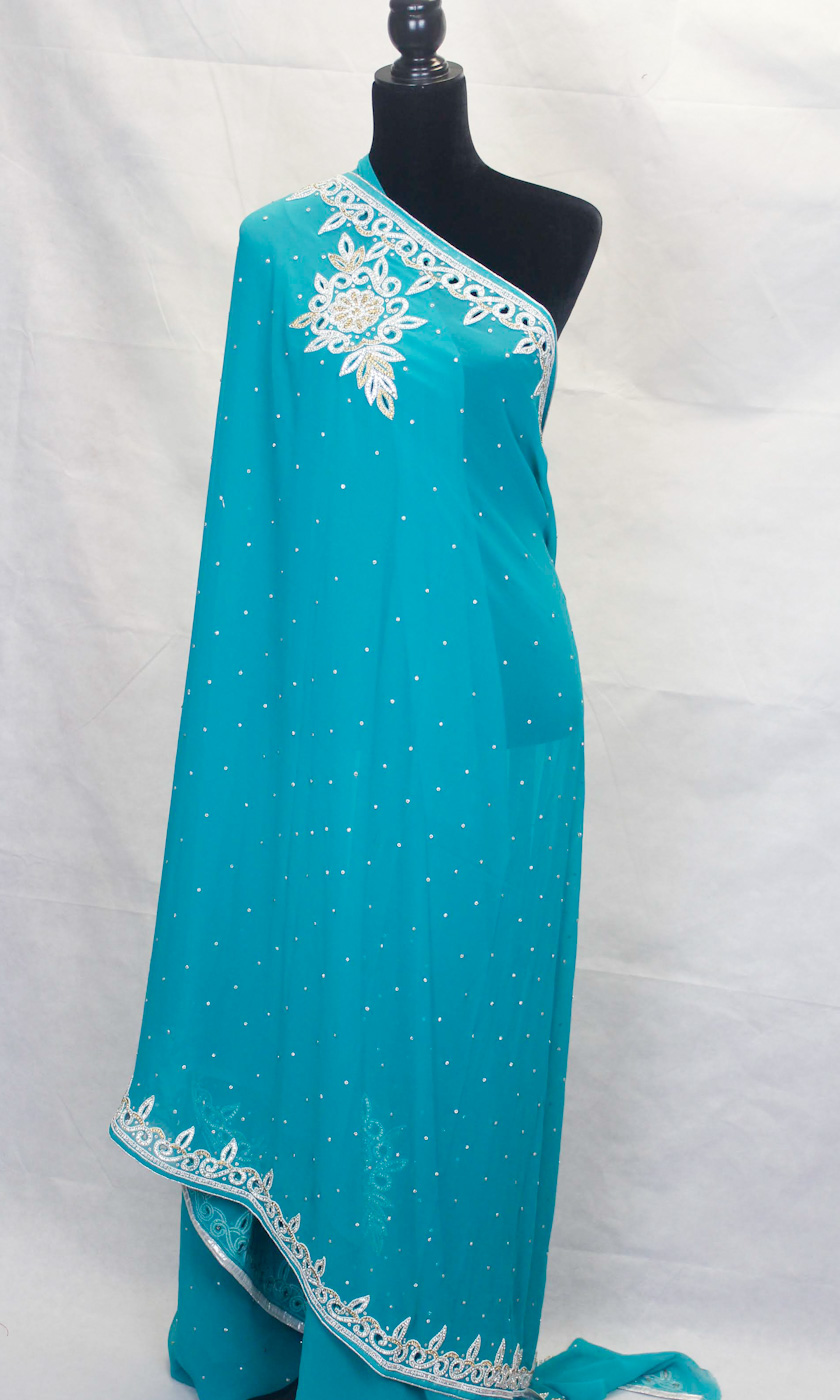 Stone Studded Saree - Perfect for any Party or event. Comes with a unstitched blouse