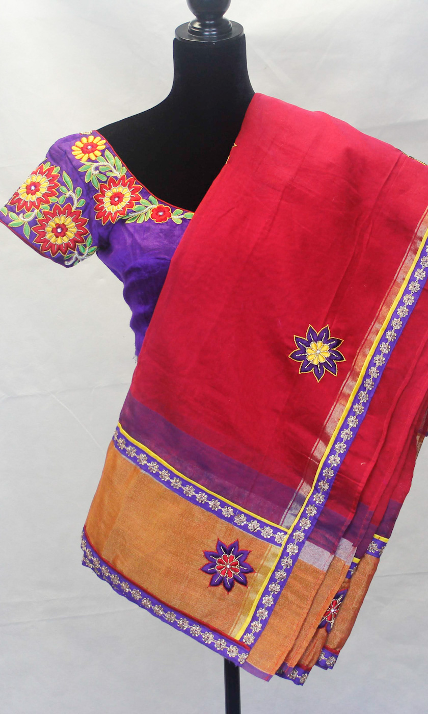 Silk Saree - Thread embroidery on this designer saree make this special and unique