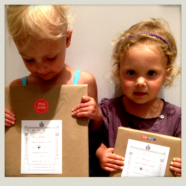 Nora & Alice (aged 4 & 2) each have their own custom subscriptions.   Nora planned out Halloween costumes for the whole family based on the Picture Book Club selection she received in June!