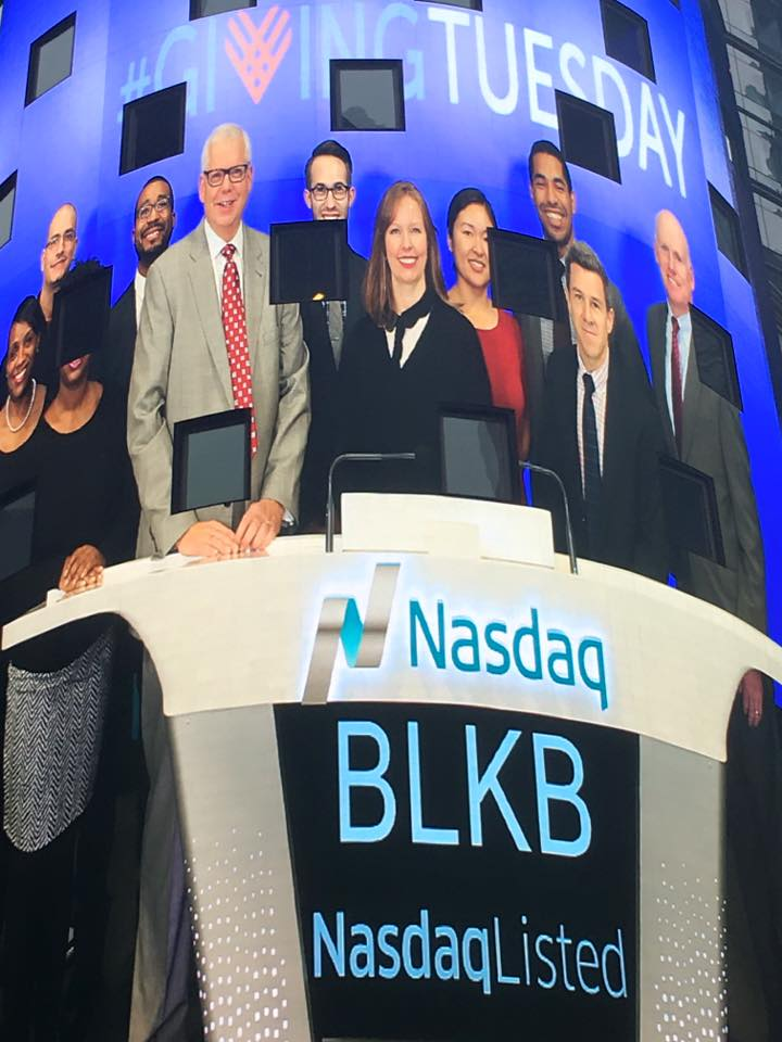 Colleen on a billboard in Times Square, ringing in last year's #GivingTuesday at the Nasdaq Opening Bell ceremony.