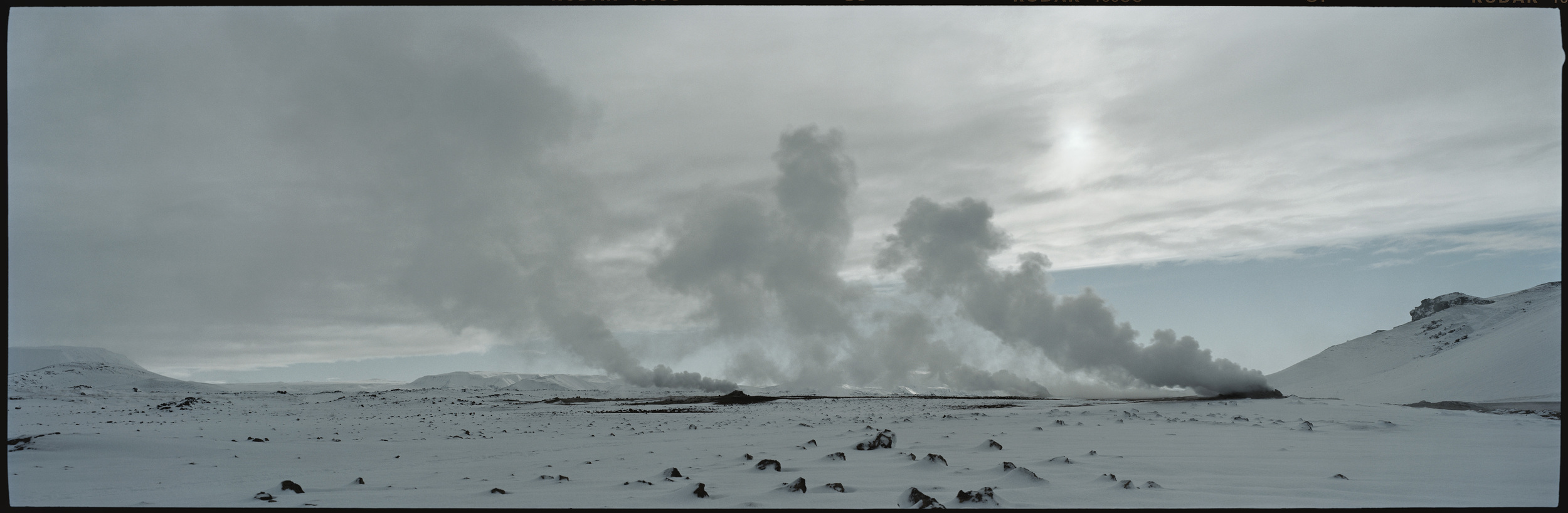 13.Hverarönd, geothermal vents covered with snow.