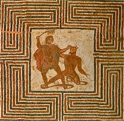 Roman mosaic depicting the battle between Theseus and the Minotaur in the labyrinth