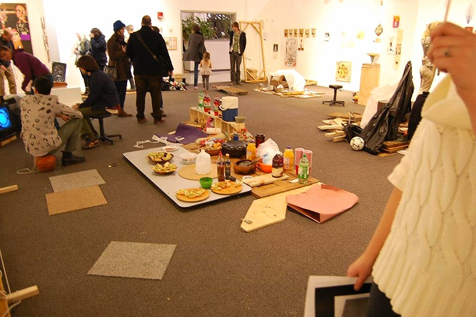 The gallery, which was camped out in, hosted a potluck picnic opening night (12.12.12), imagined and actual rafts, dwellings, and artifacts.