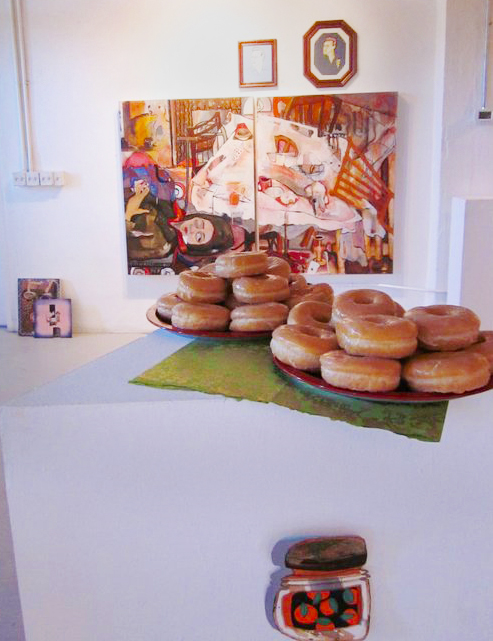'Do Not Resuscitate' w/ framed drawings by Meg Fransee & piled donuts @ Commonwealth Gallery, Madison, WI