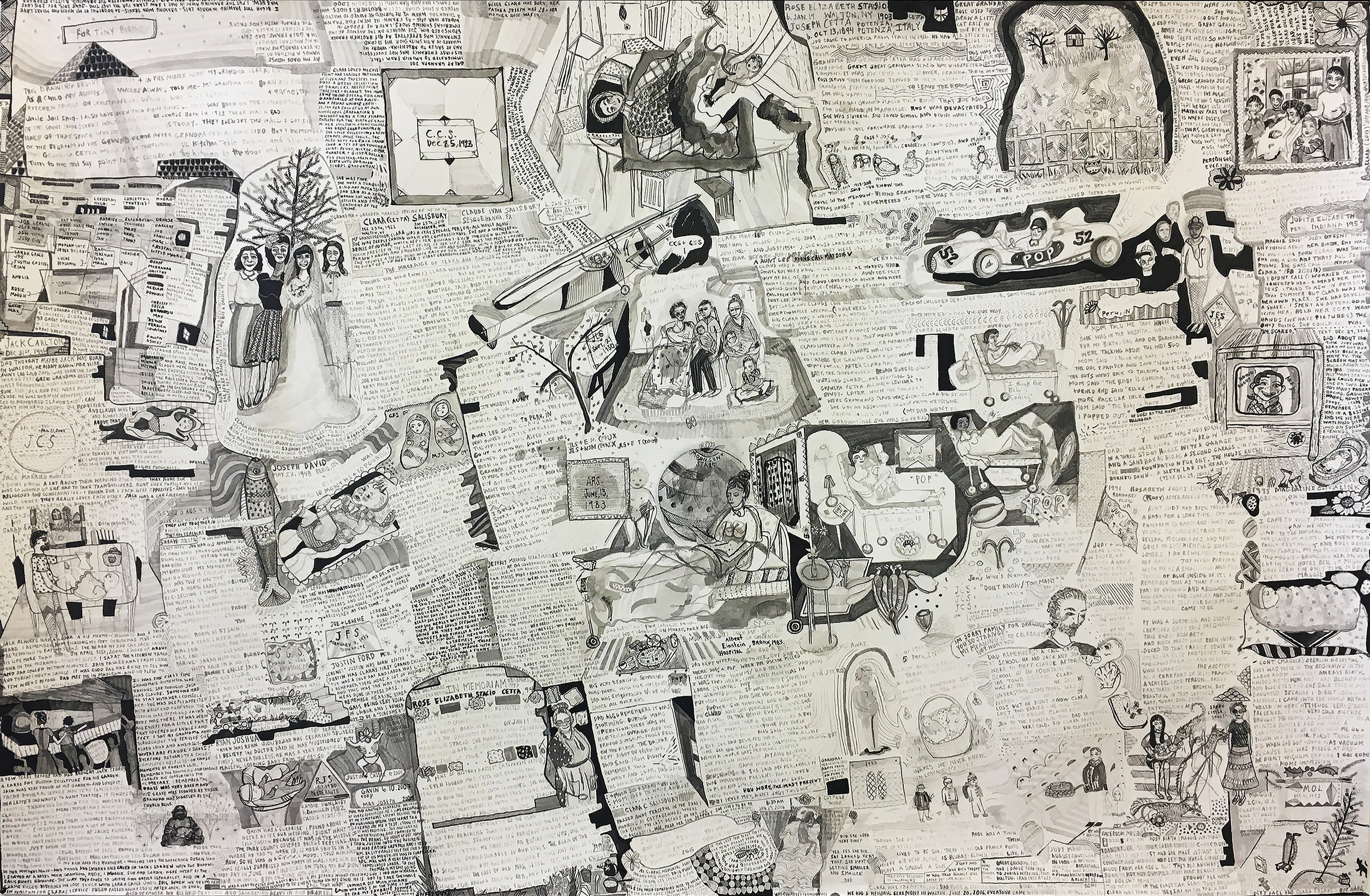 Tiny Births, A Family Tree, Ink and Brush on Paper, 26X40 inches, 2017