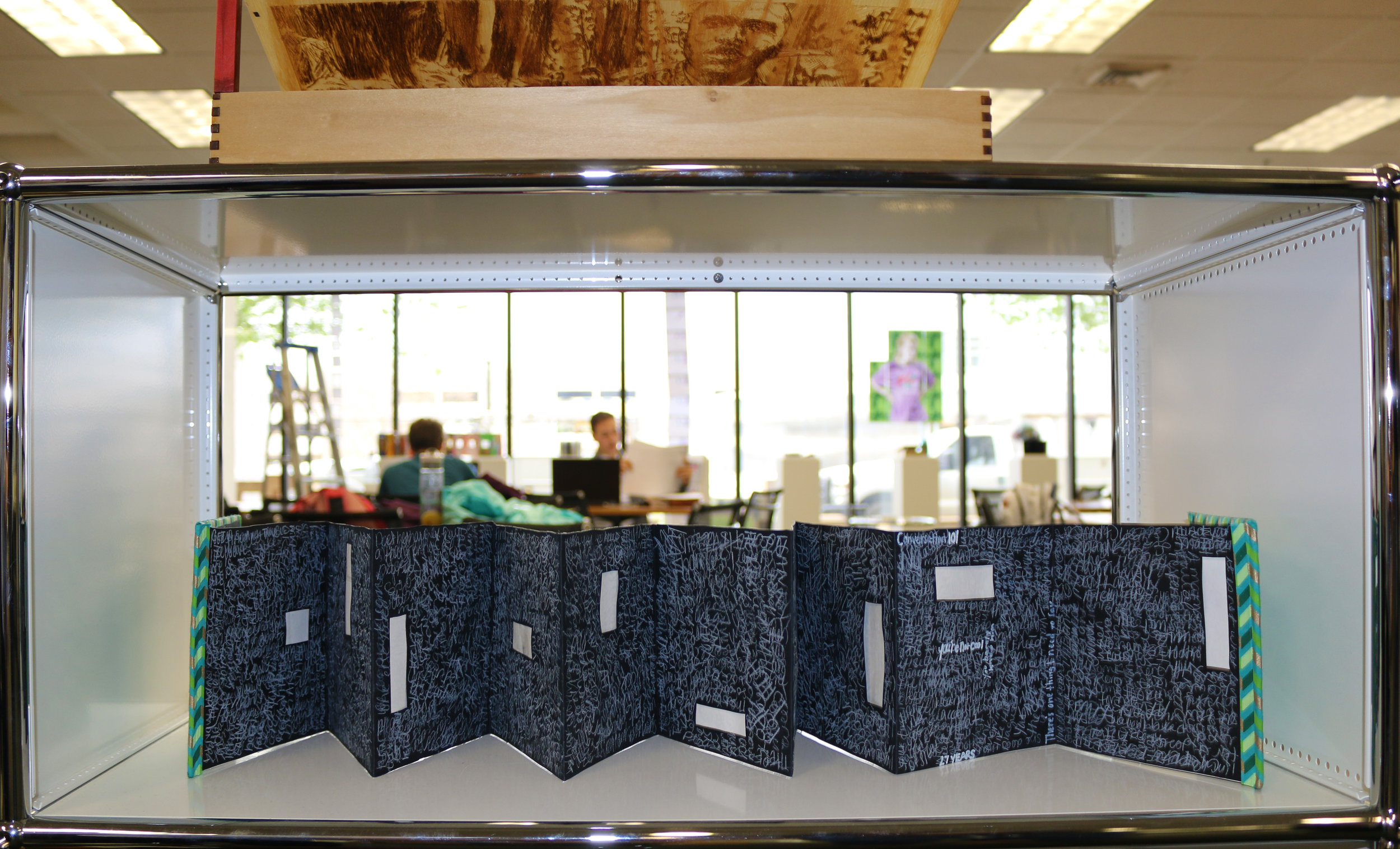 Book Arts Exhibition: Book by Caitlin Cordani, Box above by Sammy Nazam @ VA Tech, Art & Architecture Library
