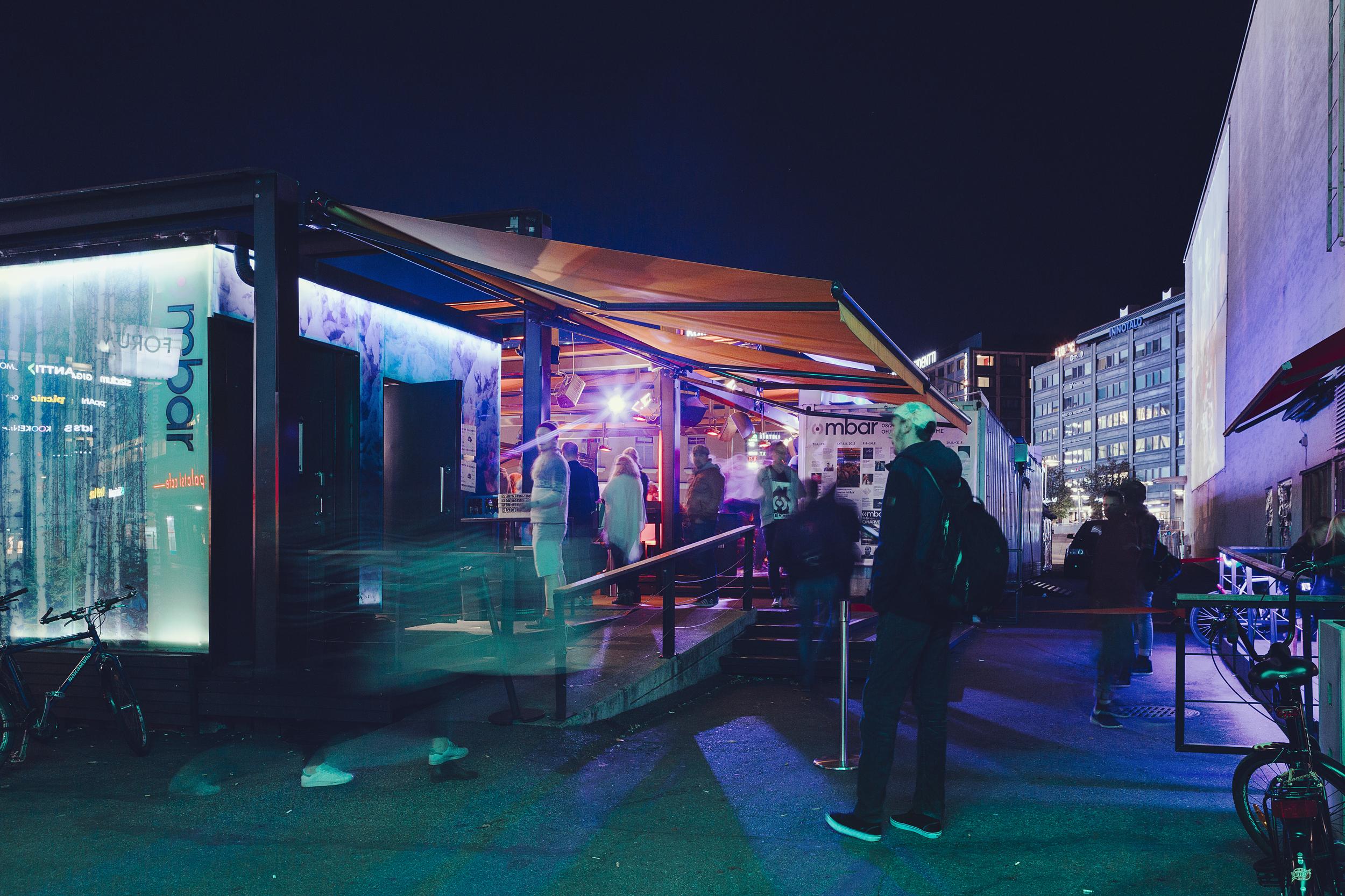 Mbar terrace night-time 2