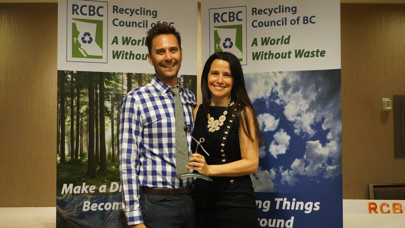 Grant Meek, Director of Finance, and Angela Hamilton from Quupe at the Recycling Conference of BC (photo credit: Quupe)