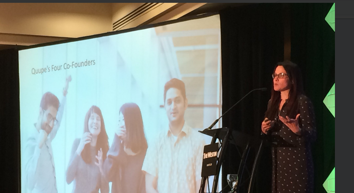 Angela presenting a keynote at the Recycling conference of BC this year (photo credit: Quupe)