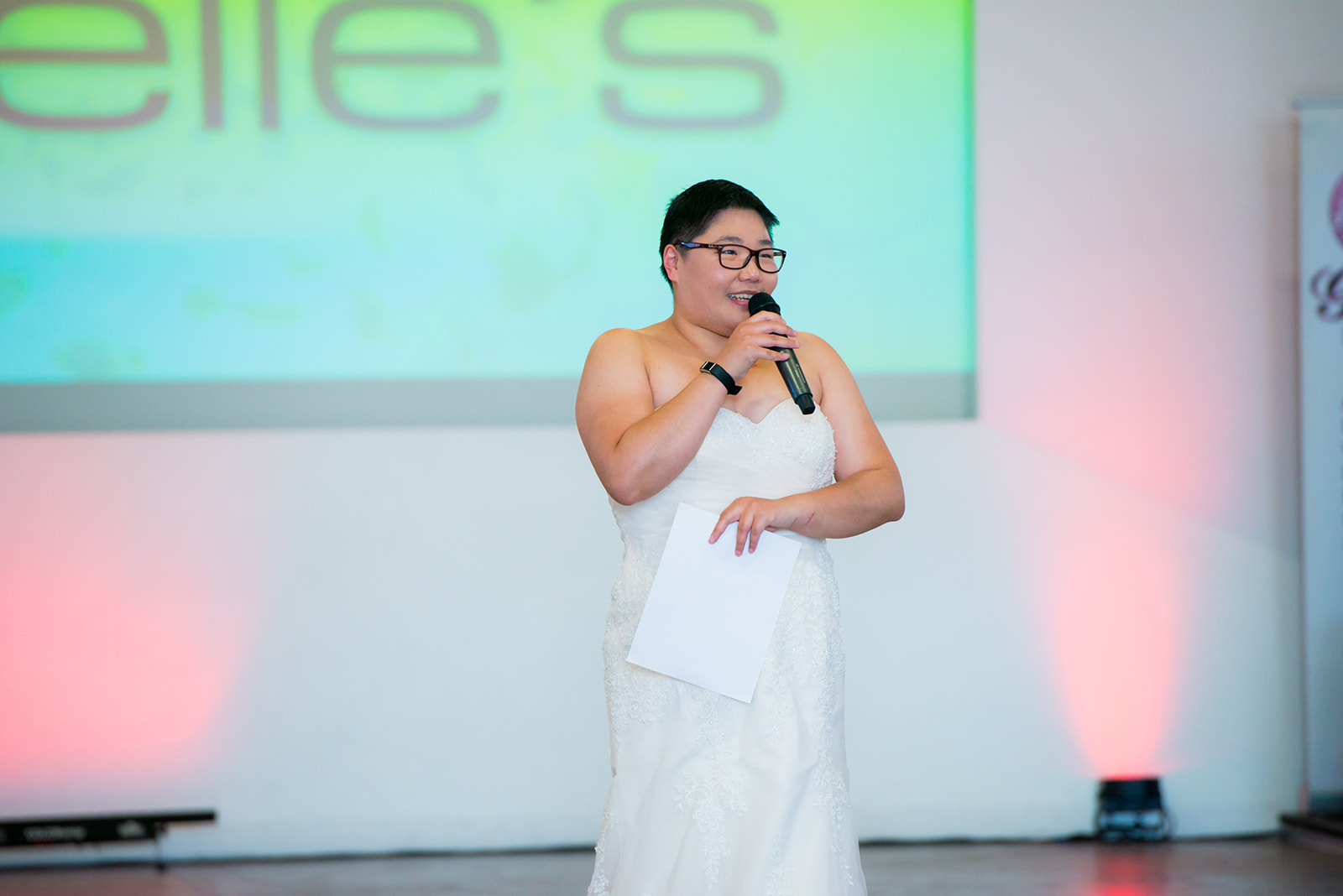 Natasha giving opening remarks at Cascadia Wedding Show - Vancouver's first locally driven and sustainable wedding show, run by Clearwater Events.  Photo credit: Petite Photography