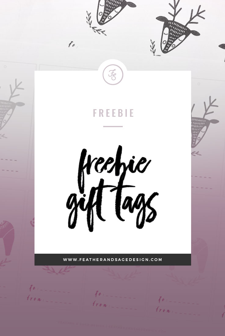 graphic about Printable Freebie named FREEBIE: Printable Holiday vacation Present Tags Feather Sage Style and design Co