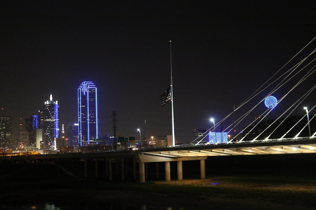 The Dallas skyline turns blue supporting our fallen officers