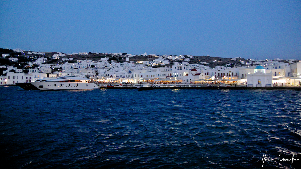 The old port of Mykonos at night