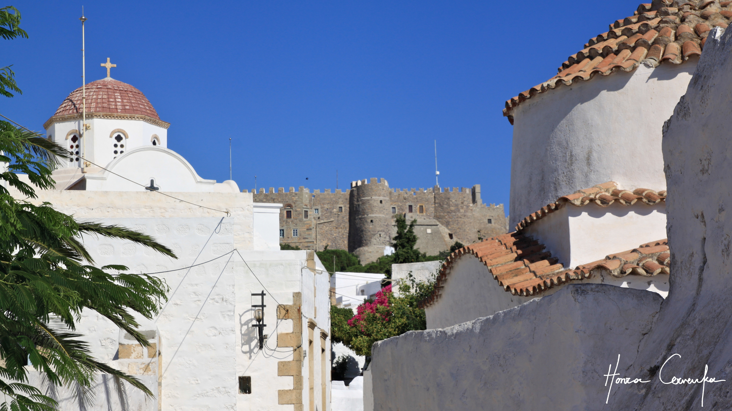 View of the monastery from Chora.
