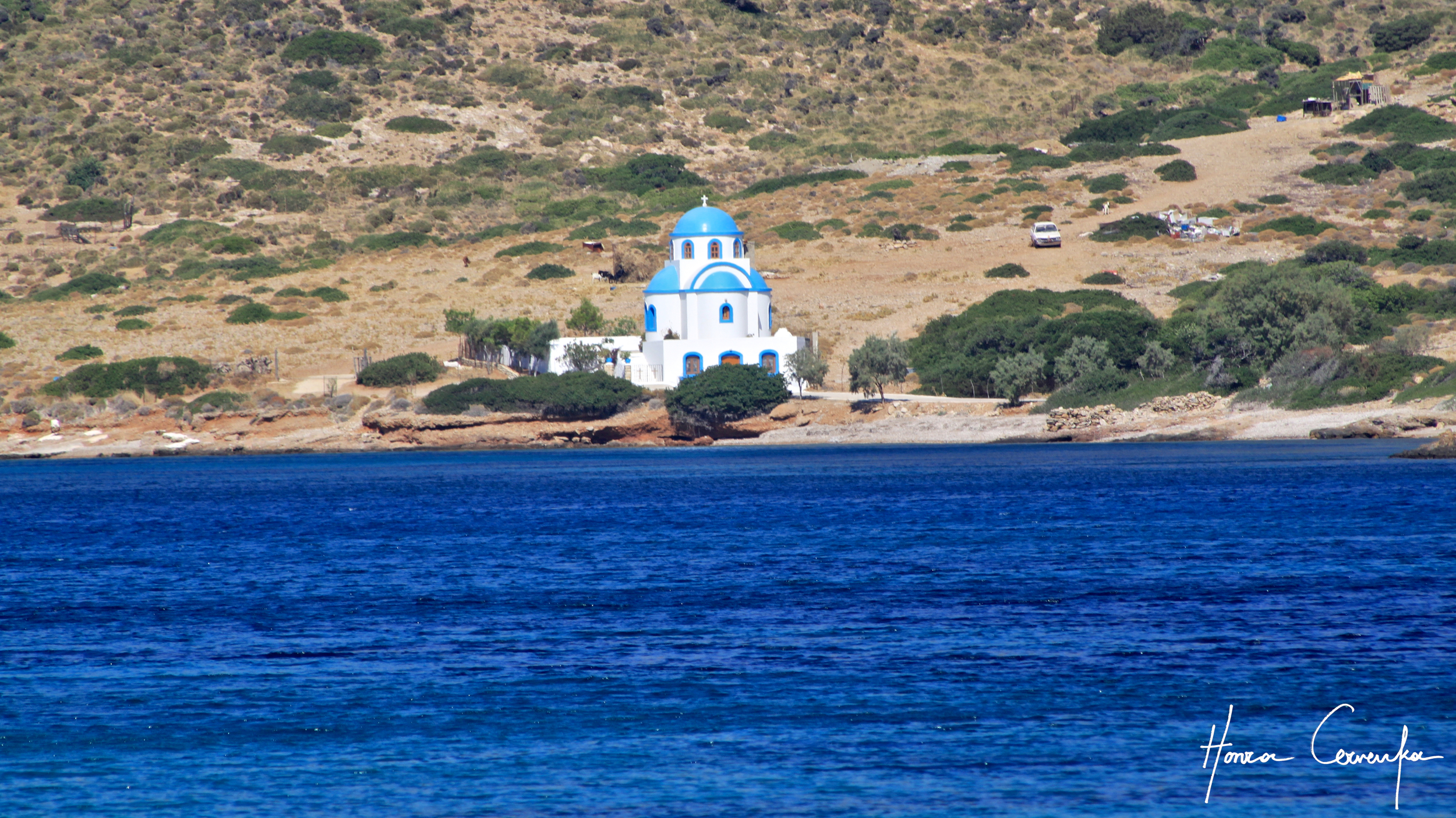 A church on the other side of the bay.