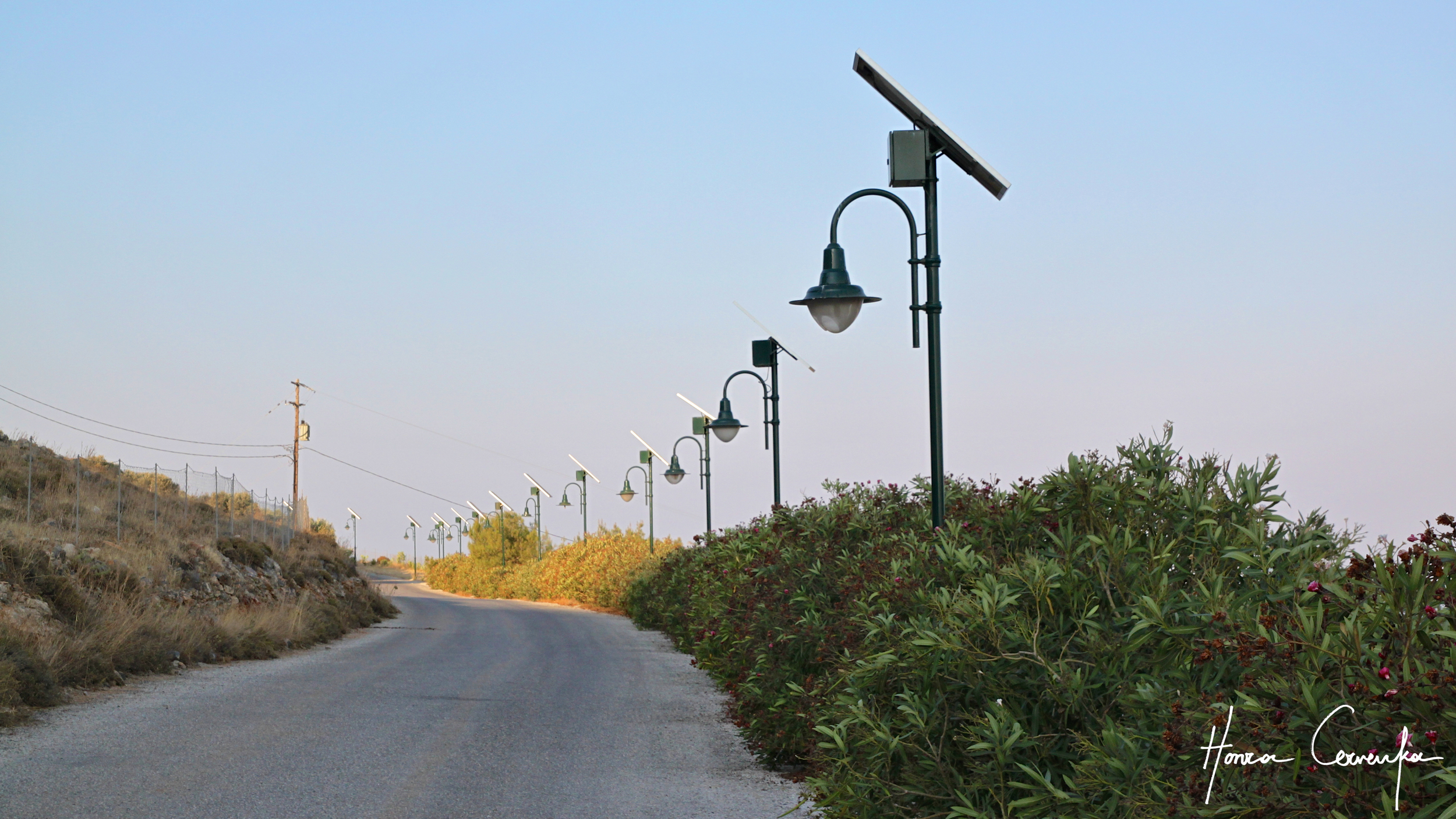 Some cool solar-powered lights up the road to the monastery.