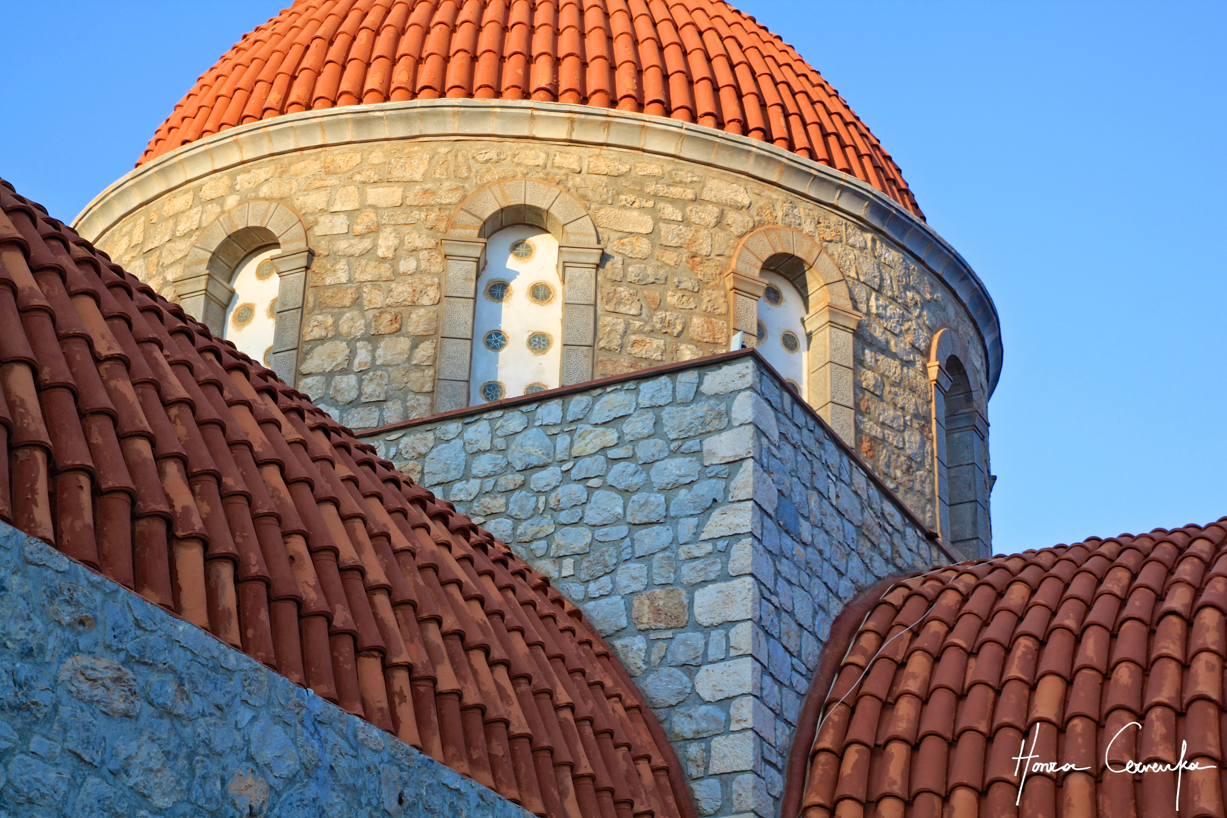 Top of the monastery church building.