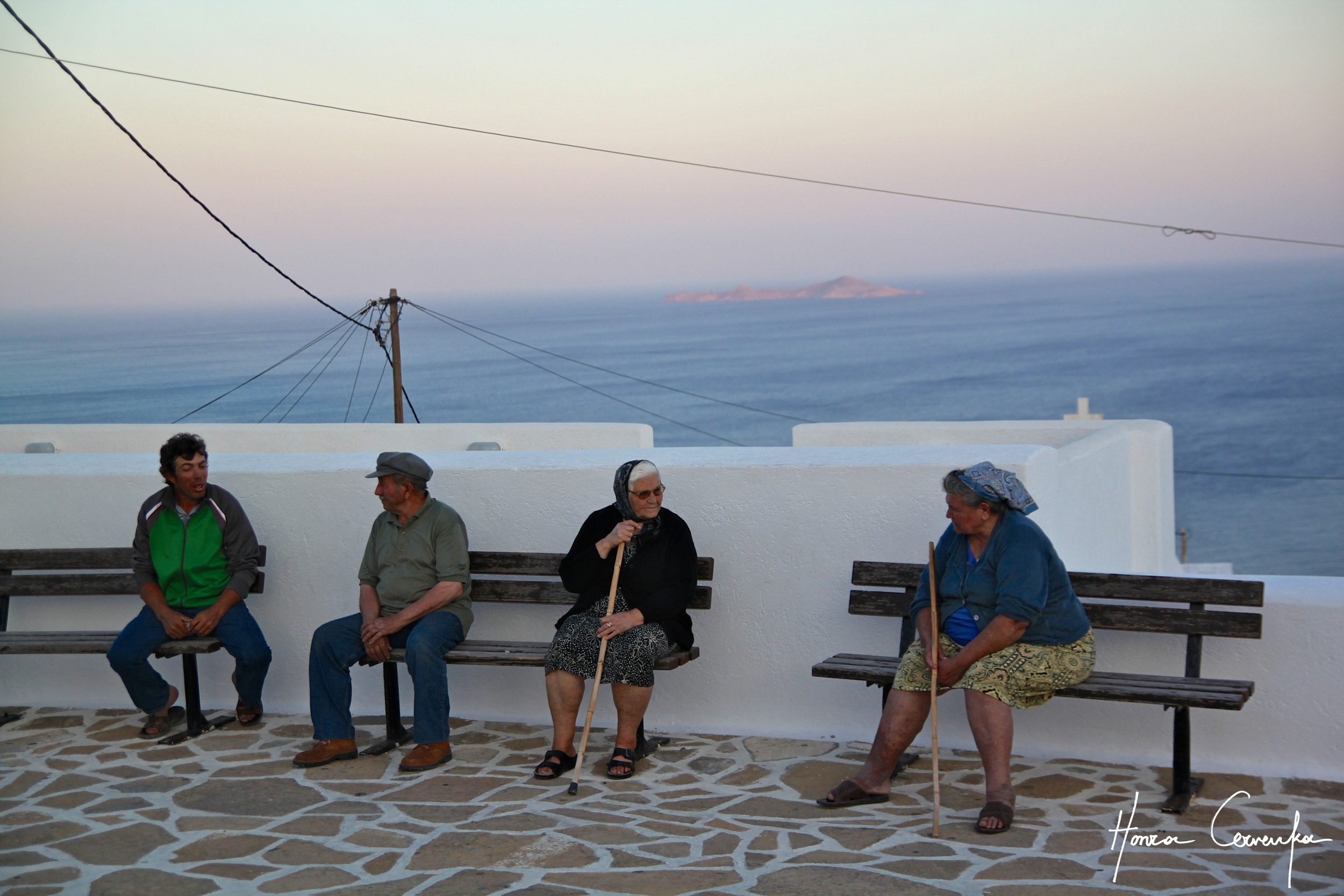 Anafi locals chatting away into the sunset.