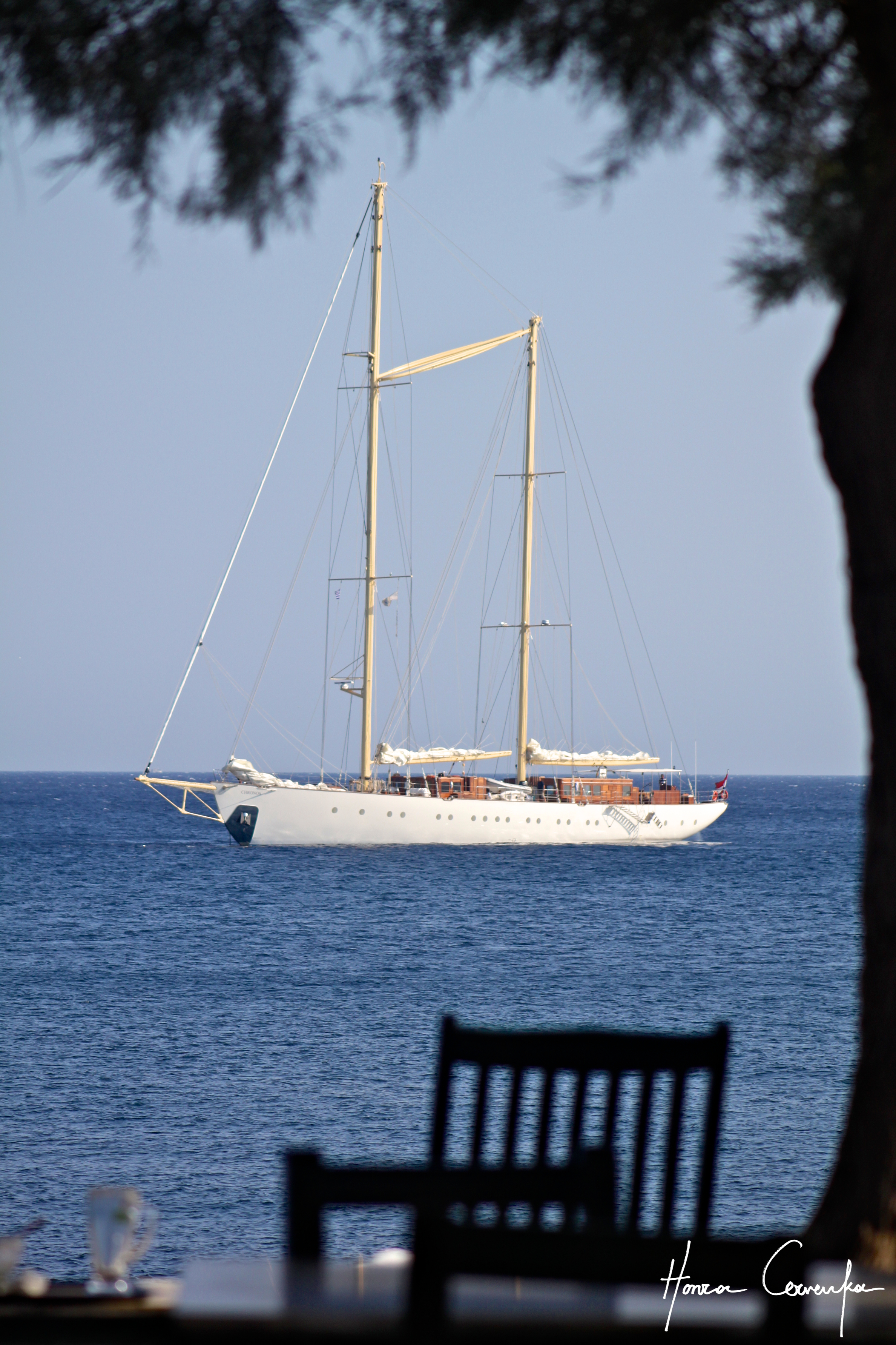 And a bonus after we left the museum--a sailboat (sadly not ours) nicely framed (I think) by the tree and table.