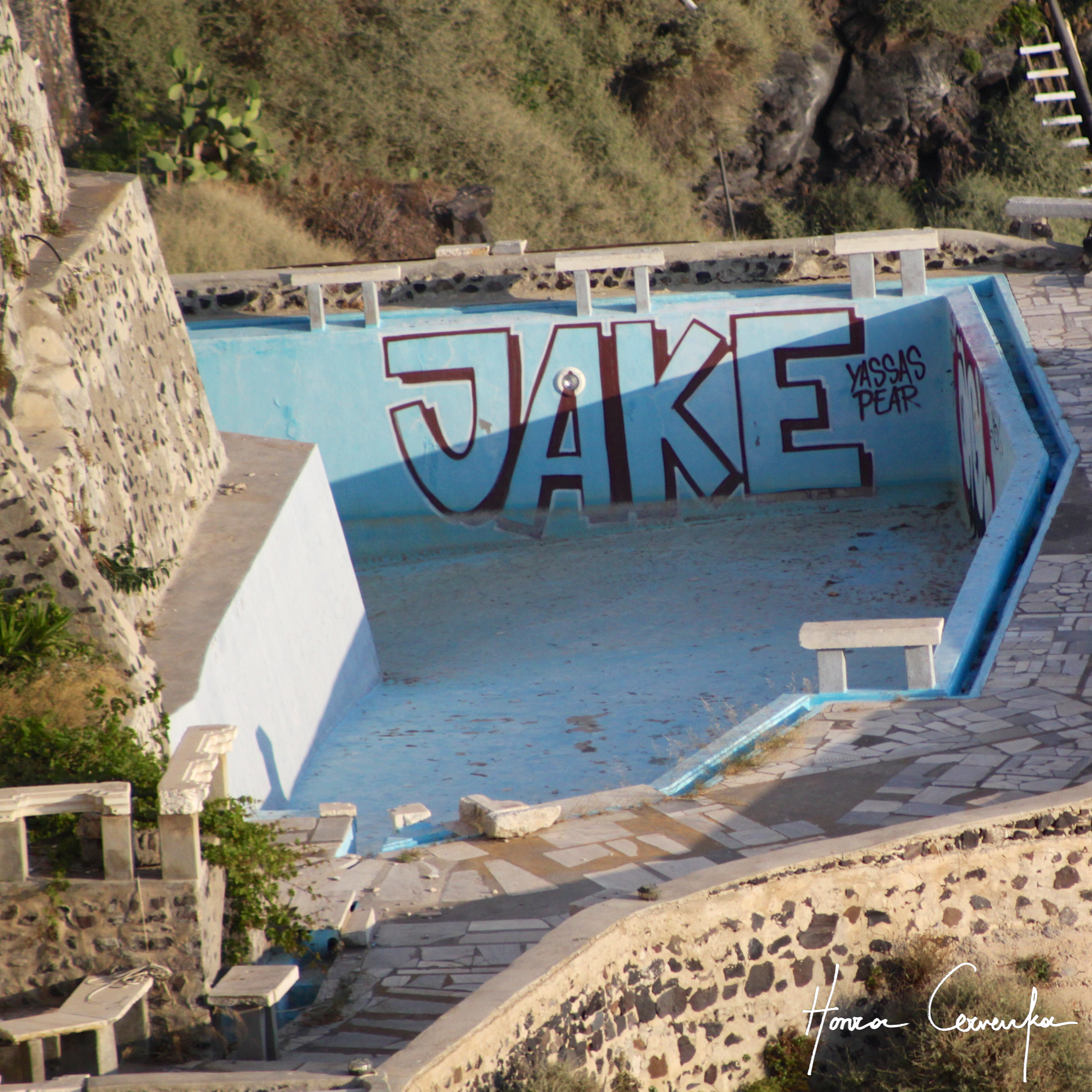 And a second bonus--one of the first sights we saw once we arrived to Thira--poor Jake hasn't swam for a while I guess