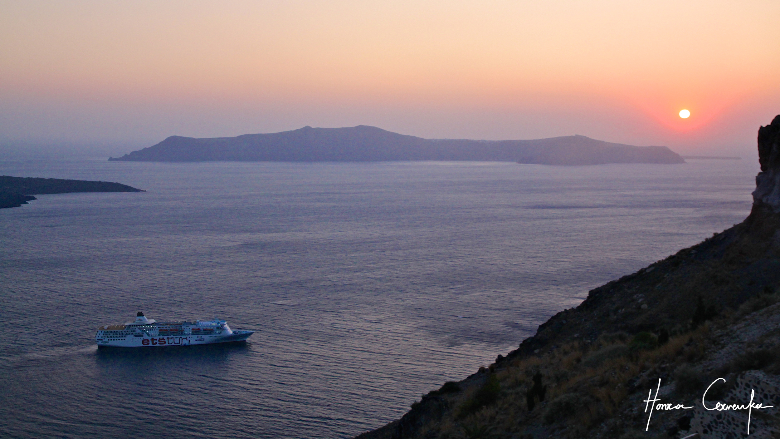 And now sunset and the caldera--more about the caldera next week!