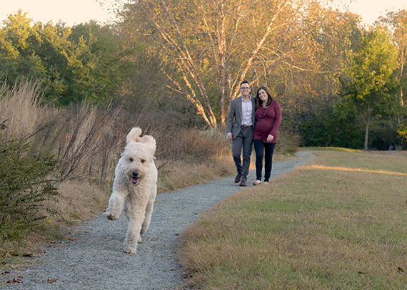 Shutter Goes Click Maternity Session with a Labradoodle. Chapel Hill, NC