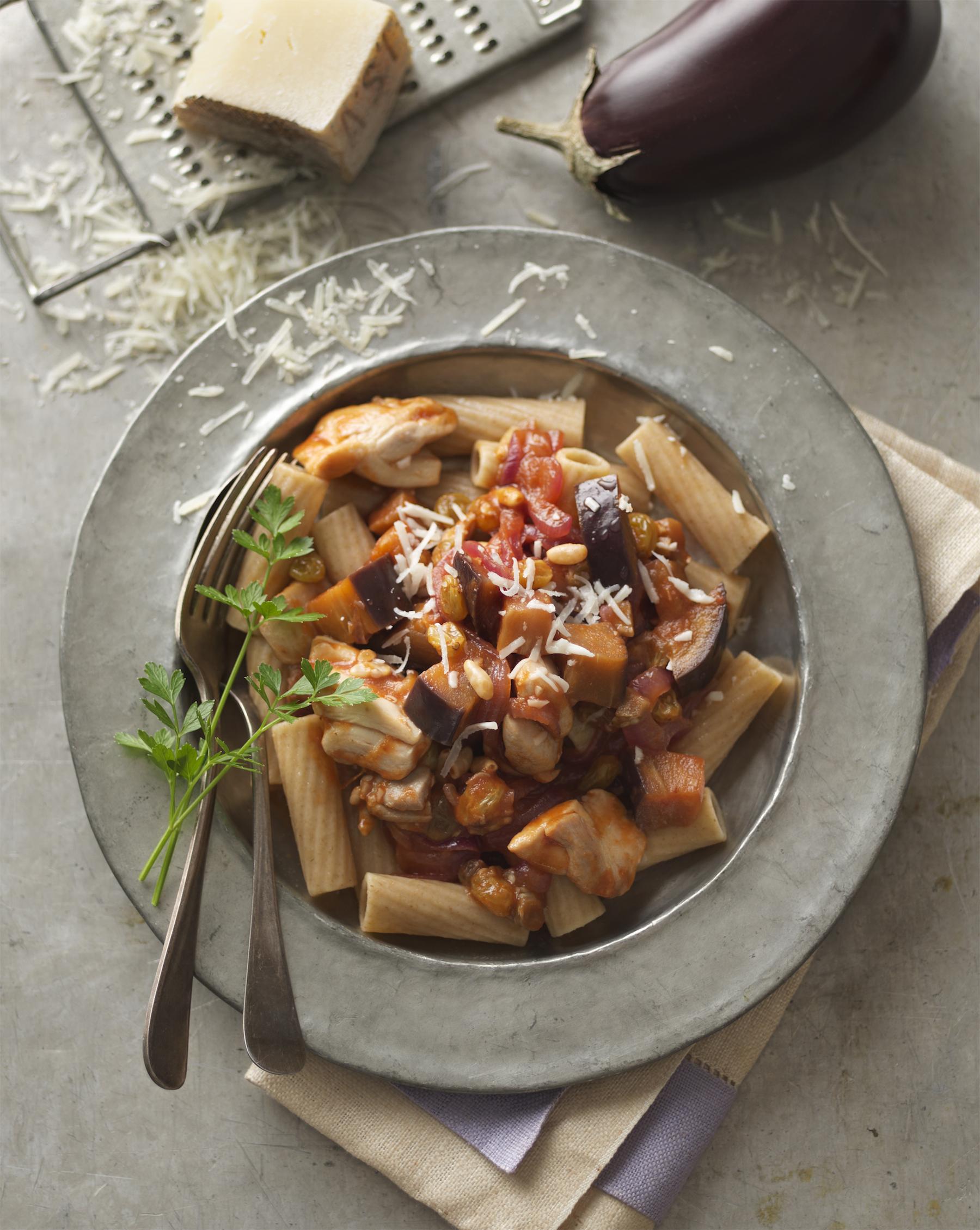 chicken caponata rigatoni  (  click here for recipe  ) photo: Dennis Becker