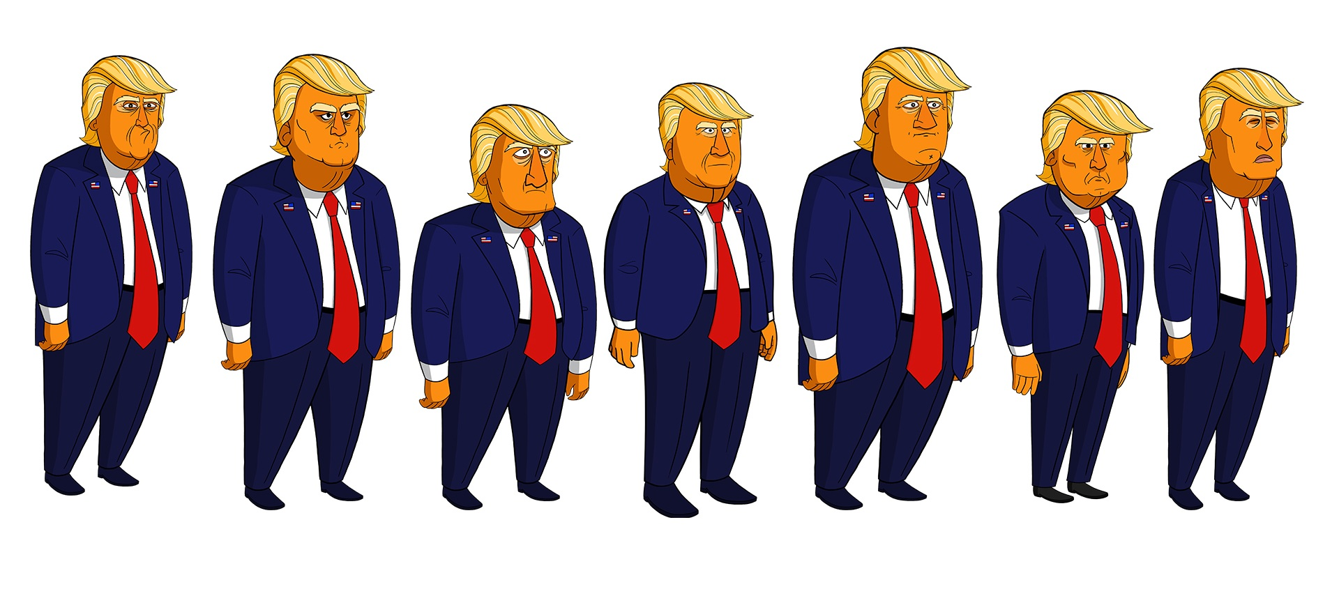 A group of Donald Trump impersonators featured in an early episode. Original Donald Trump design (left) by show creator Tim Lueke