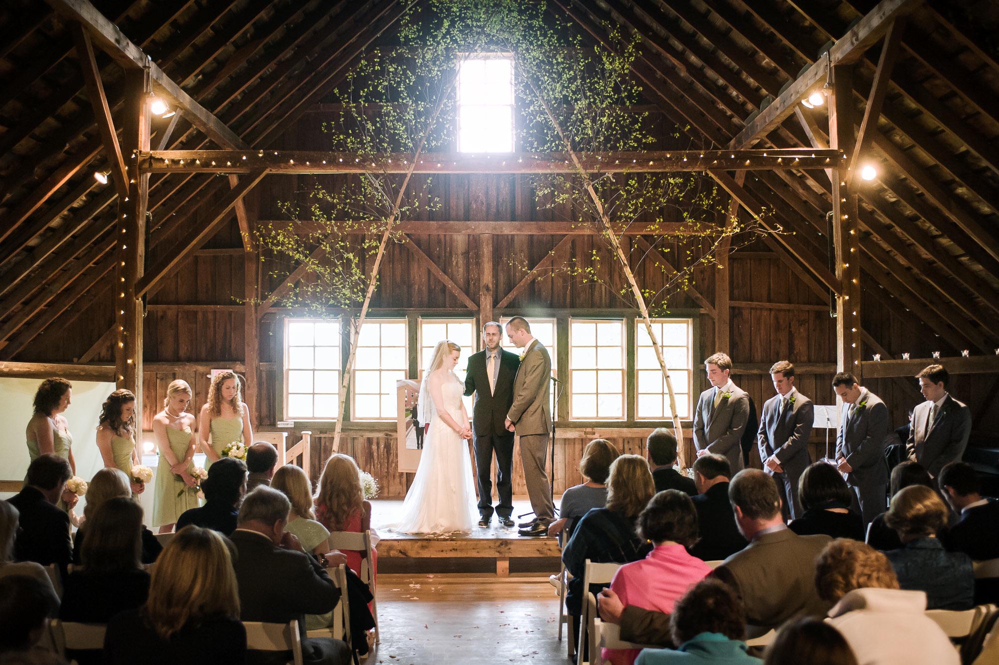 An indoor ceremony held in the hayloft.