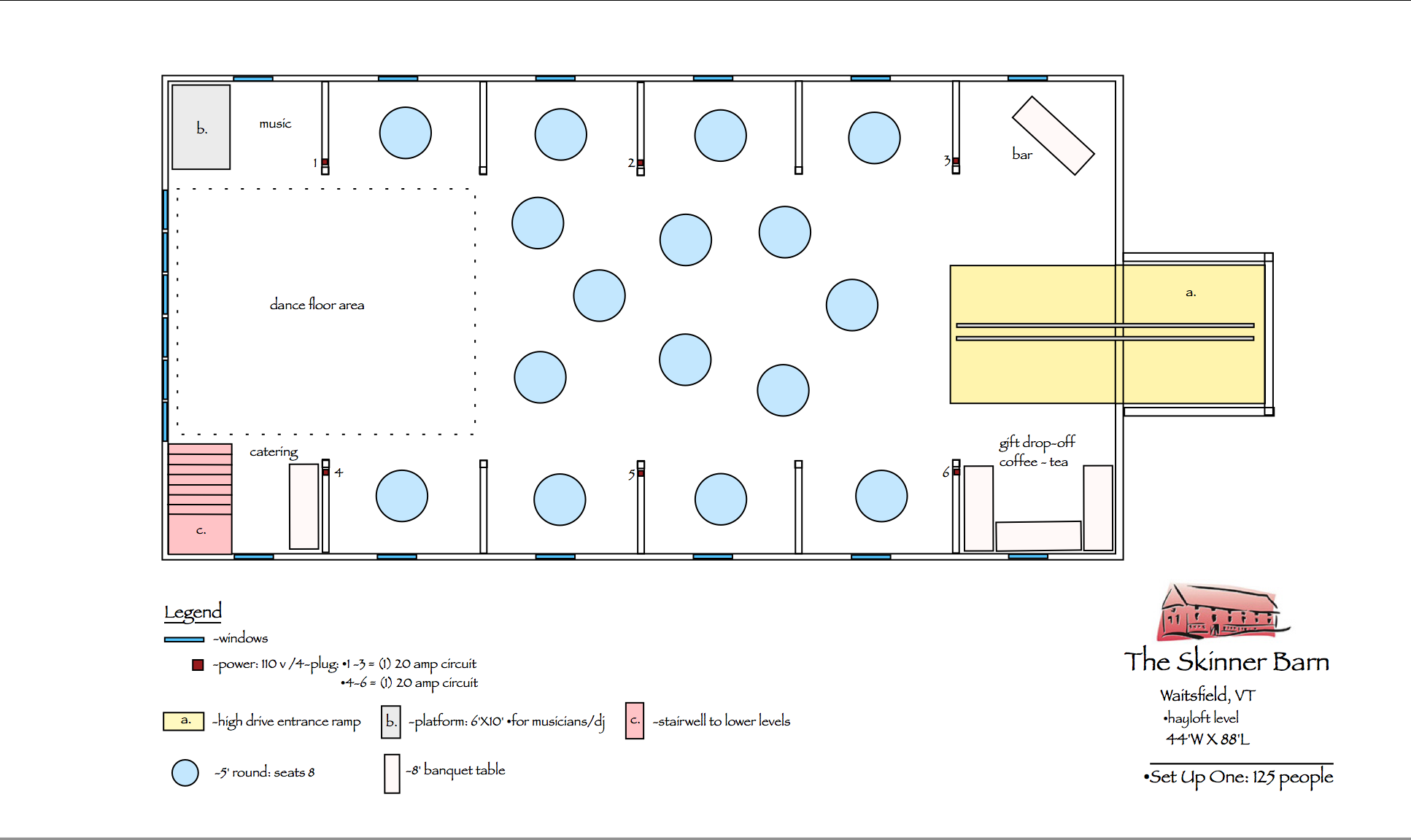 view set-up with 5' rounds