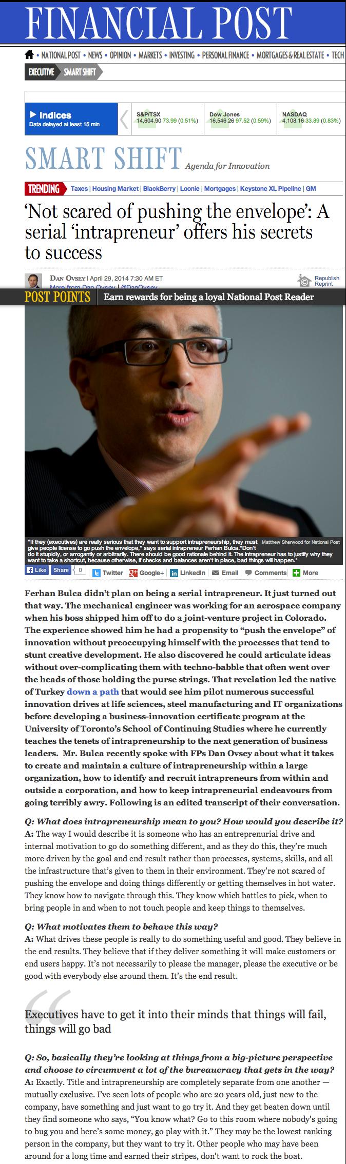 Ferhan Bulca featured in Financial Post