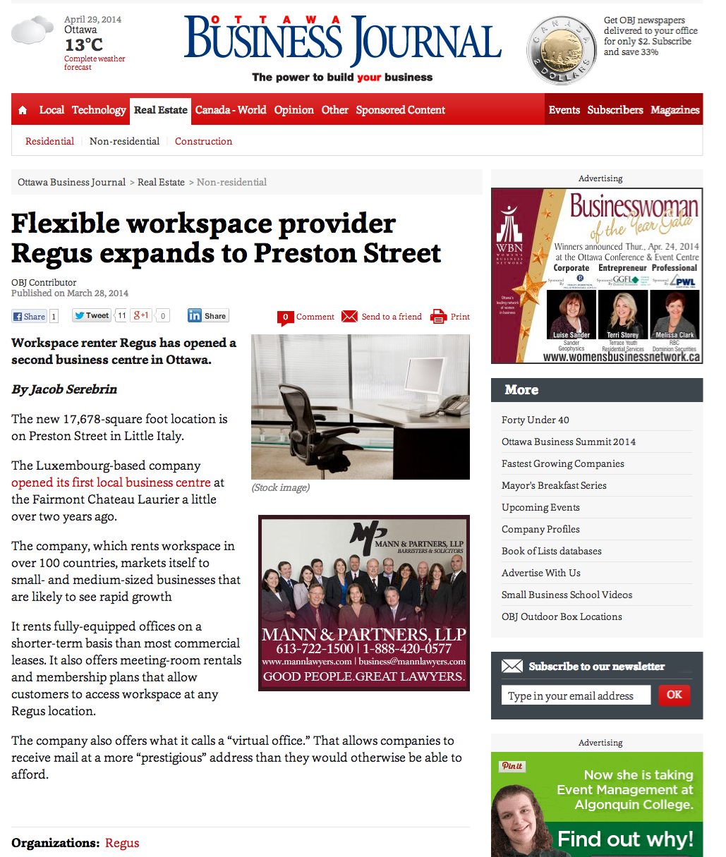 Regus in Ottawa Business Journal
