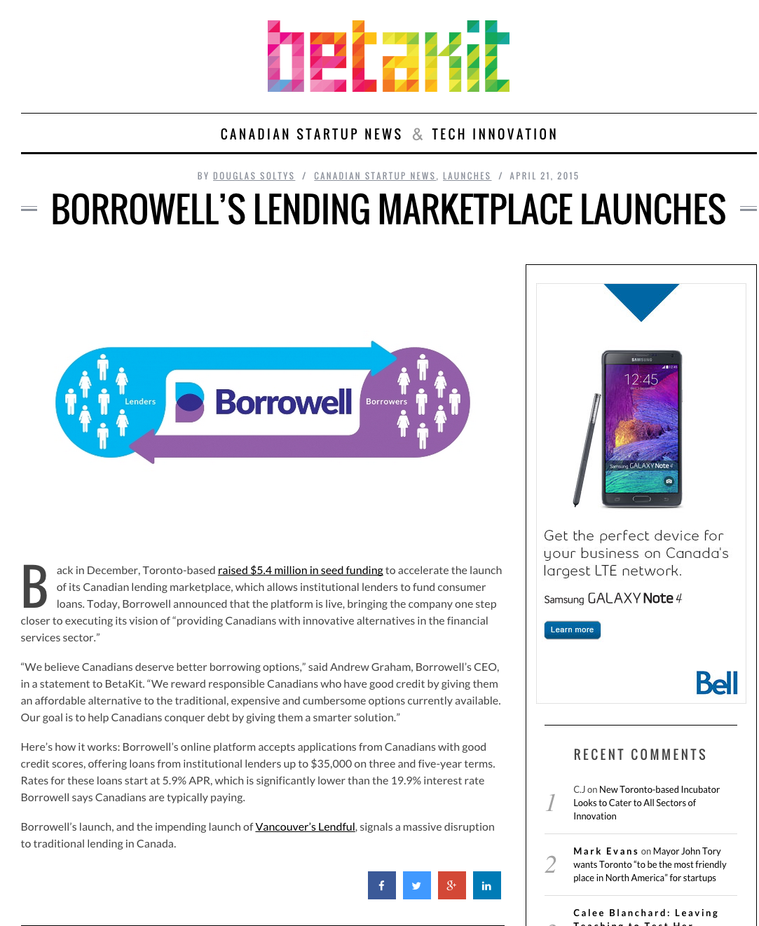 BetaKit covers Borrowell launch