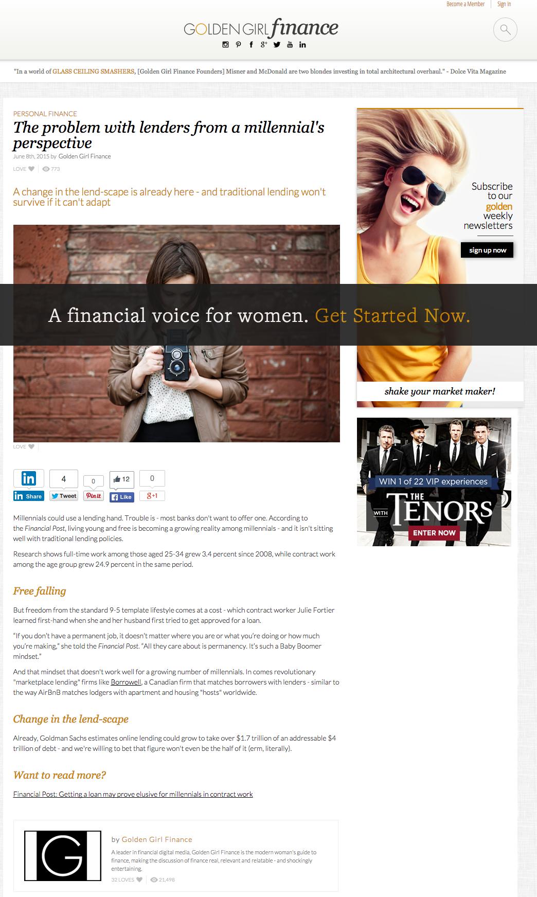 Golden Girl Finances covers Borrowell