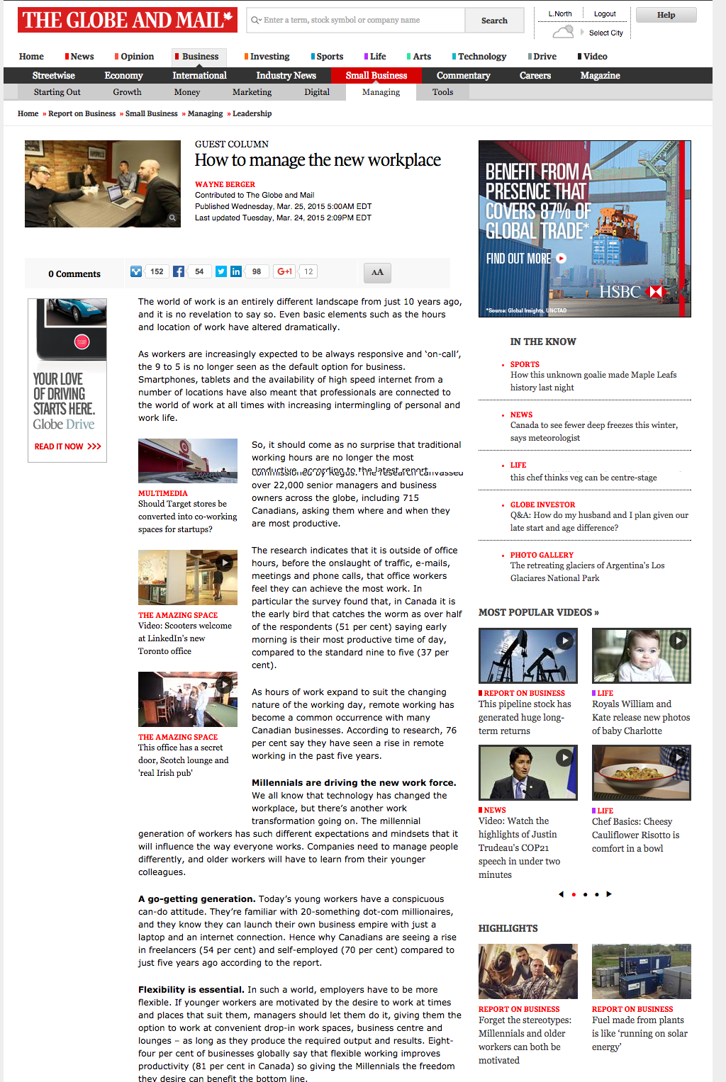 Regus Guest Column in The Globe and Mail