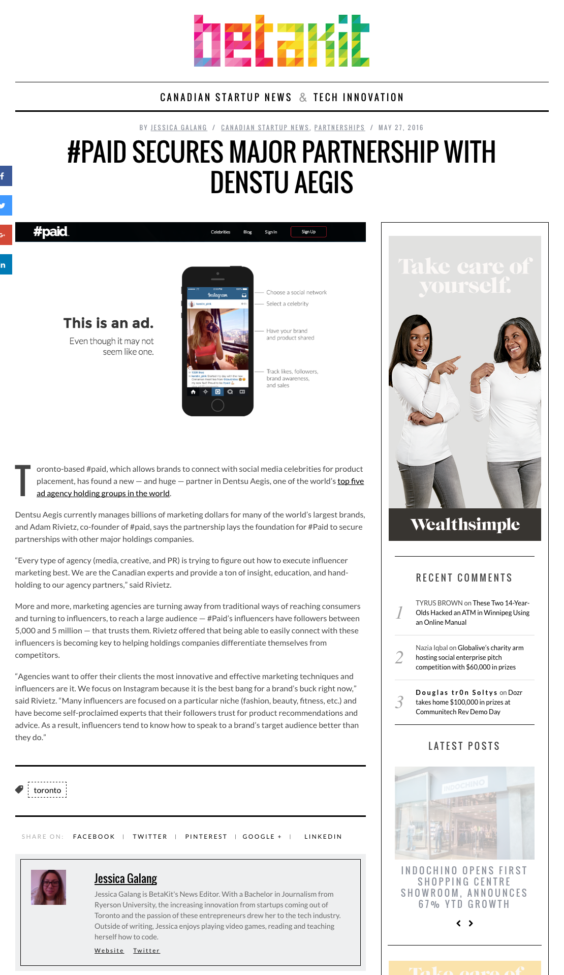 Startup #paid featured in BetaKit