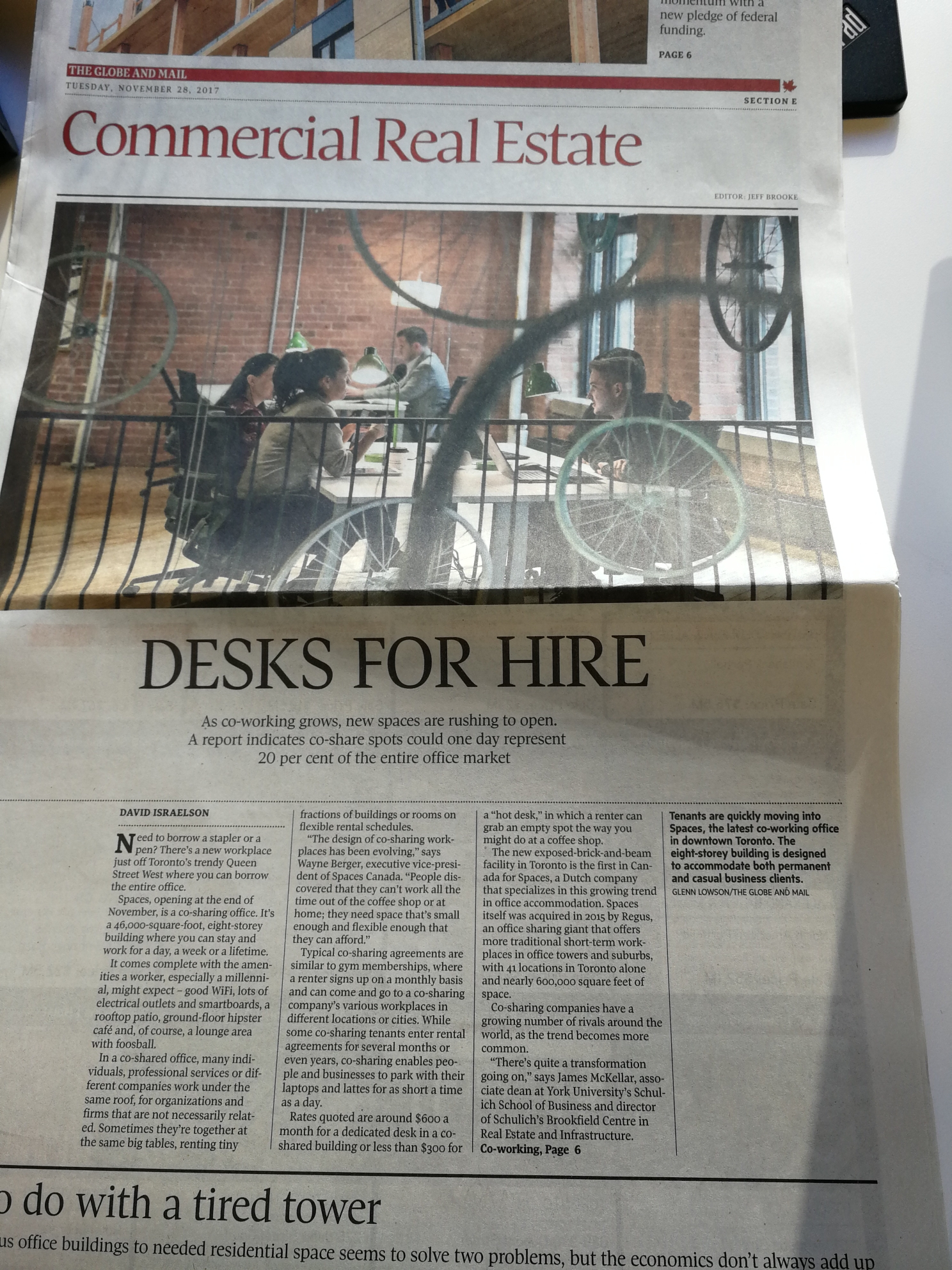 Spaces feature in The Globe and Mail