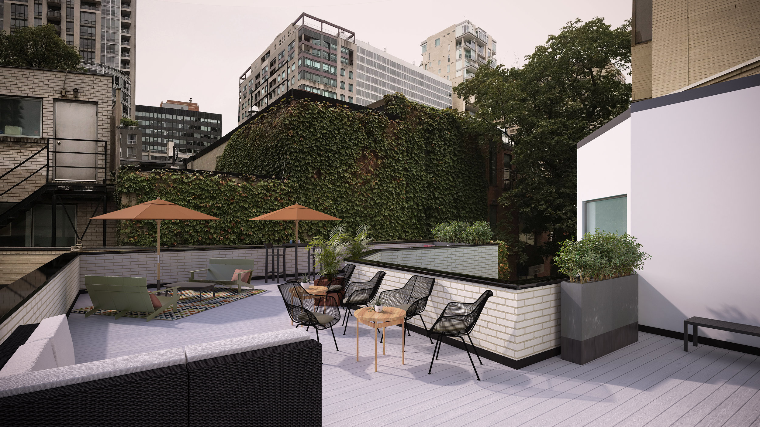 The two exclusive rooftop patios are an ideal place to connect and share ideas.