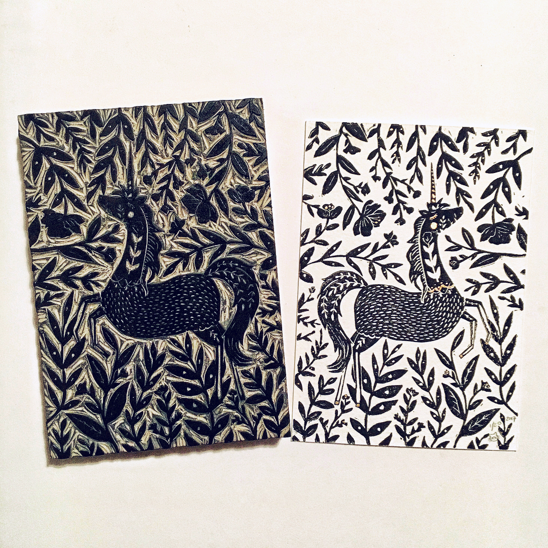 linoleum block carving + ink
