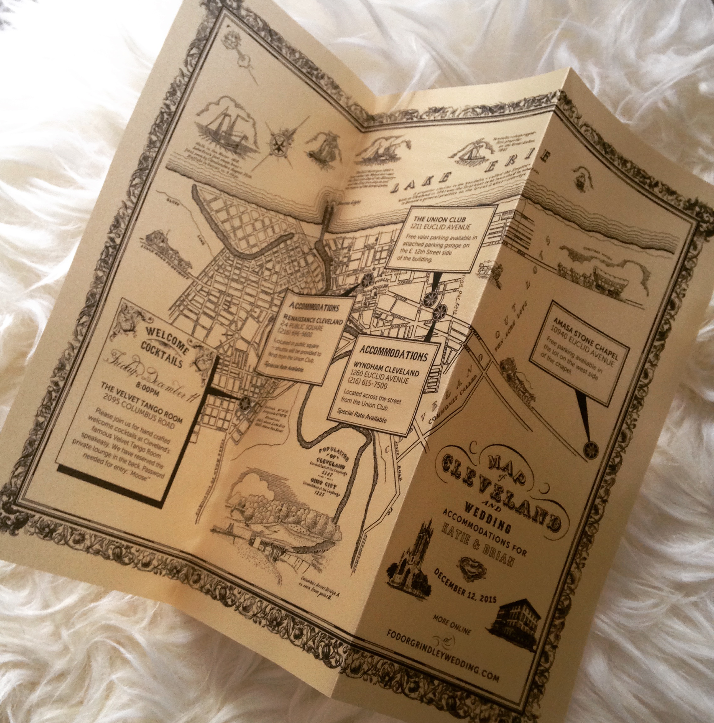 Custom vintage map included in wedding suite