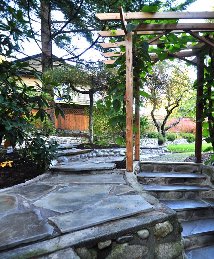 Sandstone stairs and cedar arbour.jpg