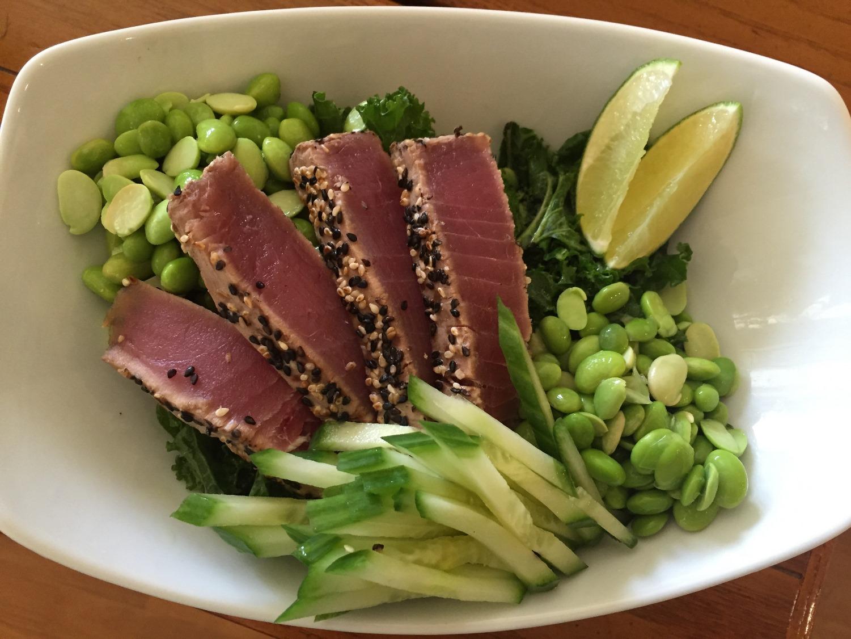 Cucumber and Edamame Salad with Sesame-Crusted Ahi Tuna