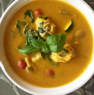 Vegetable Soup with Mini Chicken and Spinach Meatballs.JPG