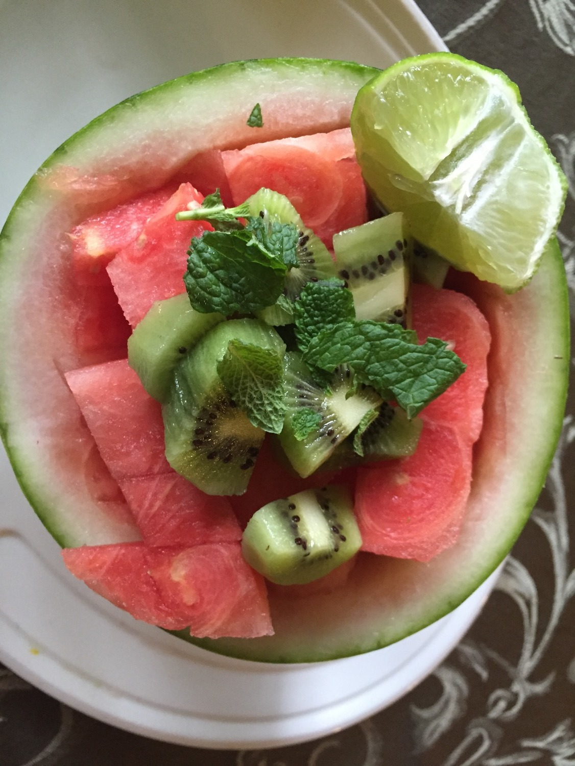 Watermelon with Kiwi, Lime Juice and Fresh Mint