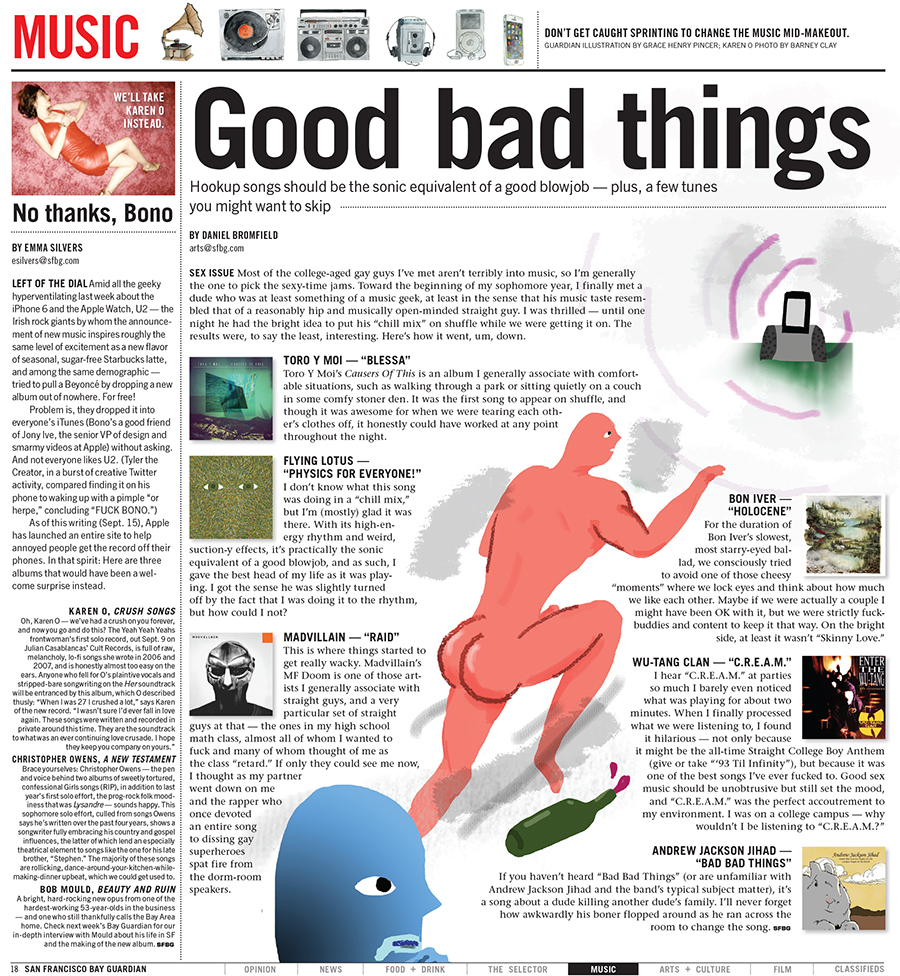 Layout for the Music section opener in the Bay Guardian's 2014 Sex Issue; illustration by Grace Henry Pincer