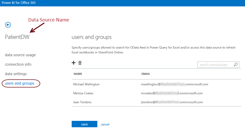 Users and Groups page when setting up a Data Source in the Power BI Admin Center