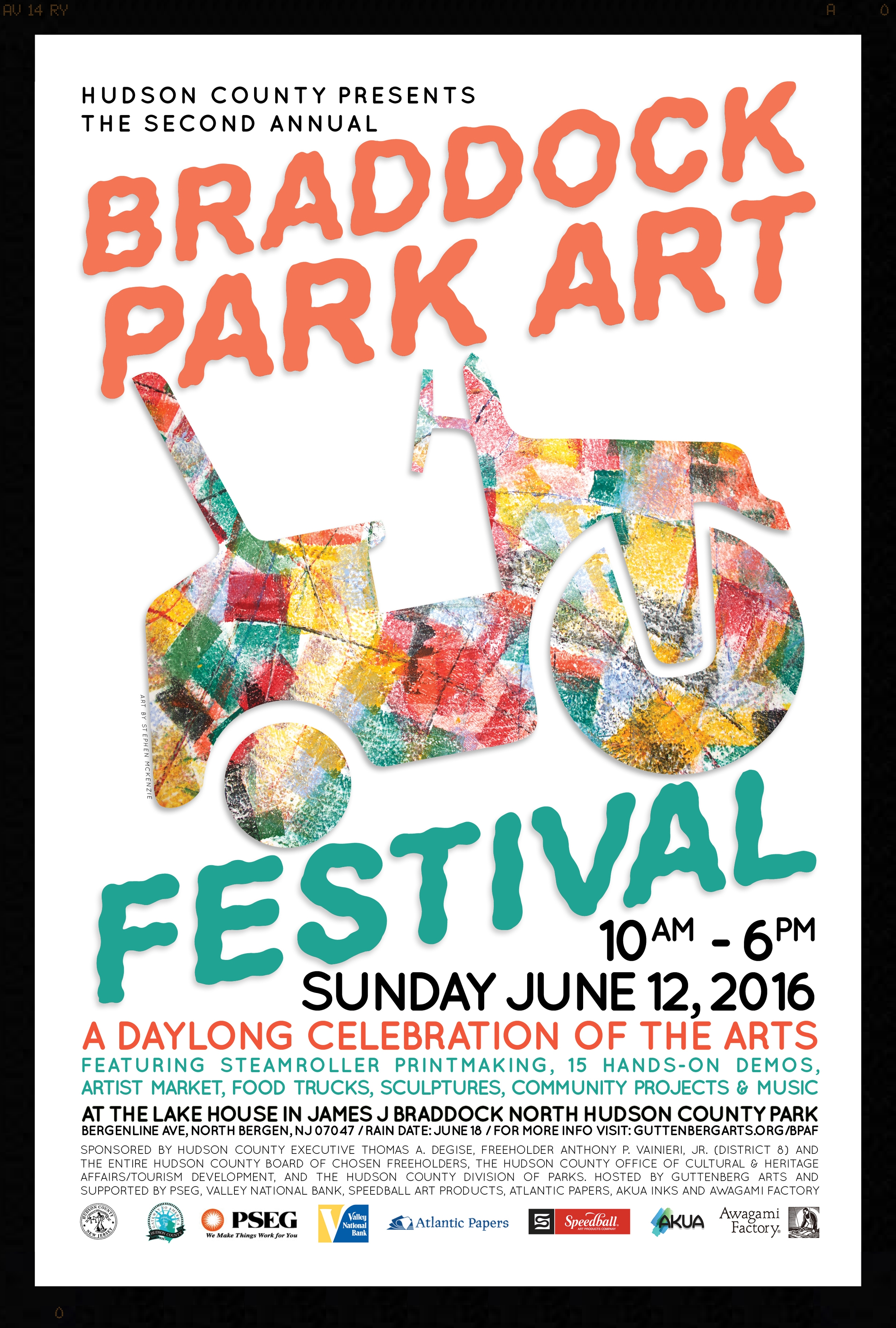 We would like to thank the sponsors of the 2nd Annual Braddock Park Arts Festival for their generous contributions towards making the June 12th event such a great success. PSEG, the J. Fletcher Creamer Foundation, Carepoint Health, Valley National Bank, Lime Taxi, GPs Restaurant, and UFC gym demonstrated they recognize the important role design and visual arts can play in the lives of Hudson County residents. Similarly, material and in-kind donations from Atlantic Papers, Speedball Art Products, Awagami Factory, Akua Inks, Ceramic Supply Inc., The Compleat Sculptor, HCB Distribution and Remco Press were invaluable to this event overall. The impact of their support will be felt long term.    Now in its second year, the Braddock Park Arts Festival attracted more than four thousand people throughout the day with double the number of attendees since last year. We are proud of the partnership formed with Guttenberg Arts, the the County Executive's Office, the Hudson County Board of Chosen Freeholders, Hudson County Division of Cultural & Heritage Affairs/Tourism Development and our sponsors on the 2nd AnnualBraddock Park Arts Festival and hope it will continue for years to come.